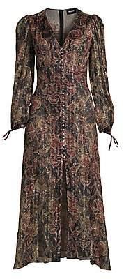 The Kooples Women's Paisley Metallic Silk Midi Dress