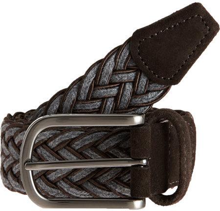 Barneys New York Contrast Trim Woven Belt