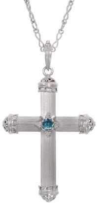 "Italian Silver 30"" Baroque Cross Pendant with Chain"