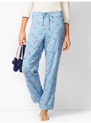 Talbots Drawcord Pajama Pants - Birds-with-Scarves