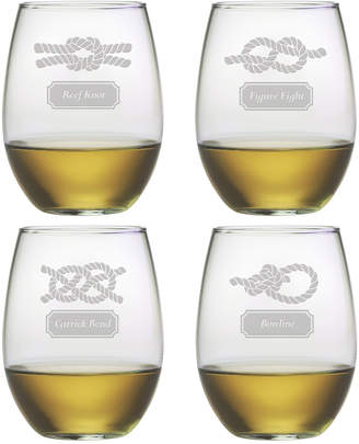 Susquehanna Glass Nautical Knots Set Of 4 Stemless Glasses