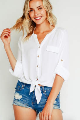 Olivaceous Stacy Button Blouse