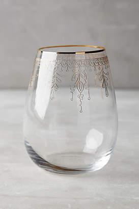 Anthropologie Battenburg Stemless Wine Glass