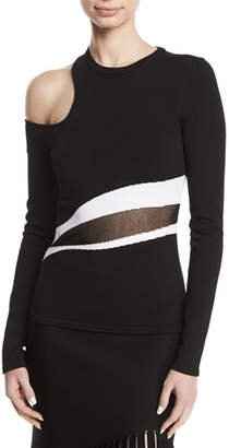 CUSHNIE Cold-Shoulder Striped Sheer-Middle Knit Top