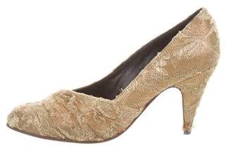 Lanvin Metallic Lace Pumps
