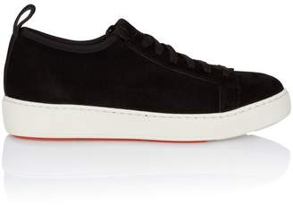 Santoni Stretch Laceup Sneaker In Black