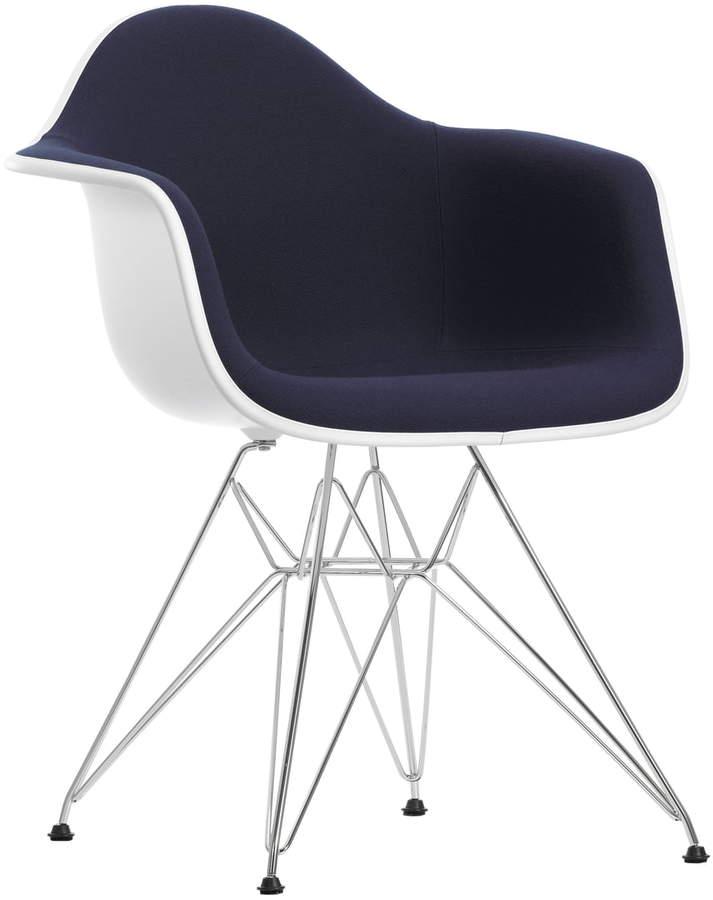 Eames Plastic Armchair DAR (H 43 cm) Vollpolster, verchromt / weiß / Hopsak petrol, chocolate / Kuns...