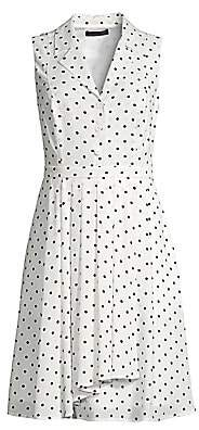 Donna Karan Women's Sleeveless Polka Dot A-Line Shirtdress