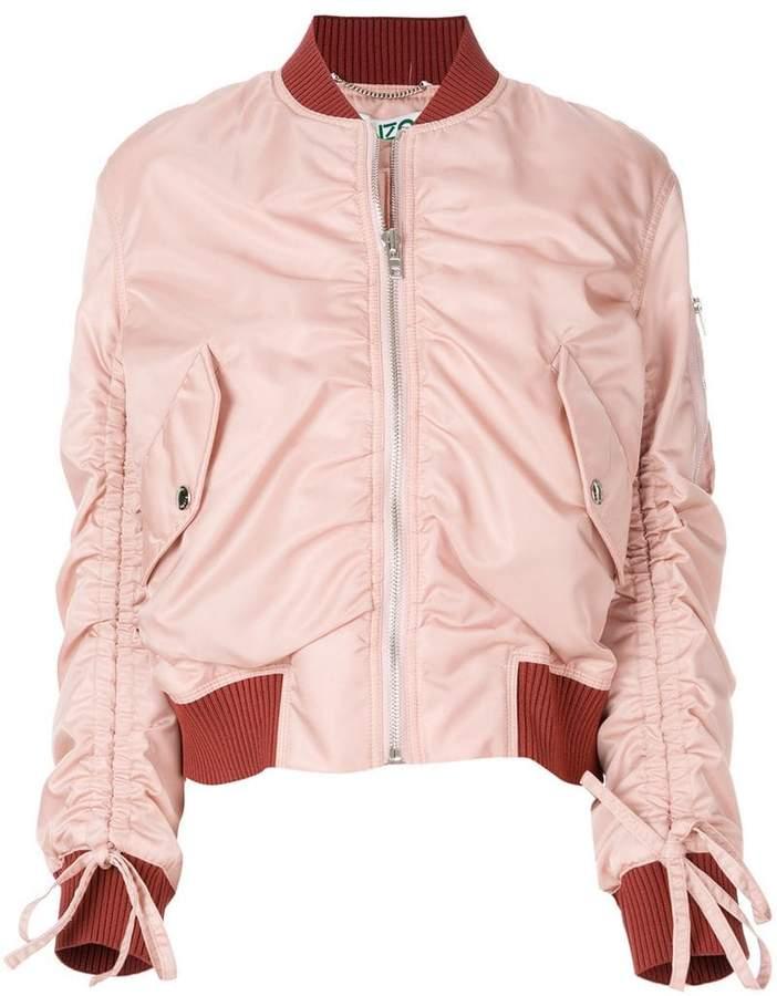 ruched detail bomber jacket