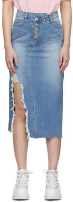 Sjyp Blue Denim Destroyed Long Skirt