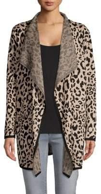 Jones New York Leopard-Print Flyaway Cardigan