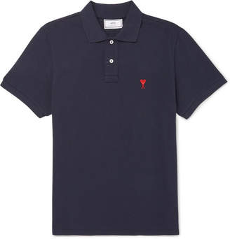 Ami Embroidered Cotton-Piqué Polo Shirt