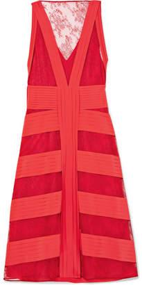 Valentino Lace And Pleated Silk Midi Dress - Claret