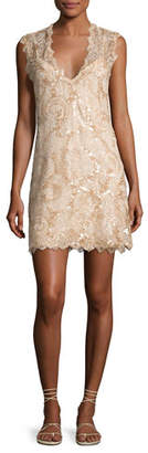 Queen & Pawn Saria Sequined Lace Coverup Dress, Beige