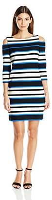 Sandra Darren Women's Petite 1 Pc Cold Shoulder 3/4 Sleeve Printed Striped Shift Knit Dress