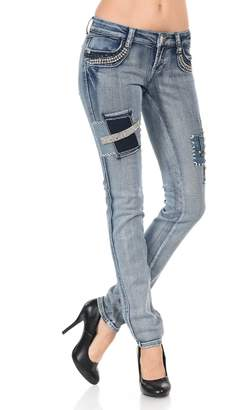 VIRGIN ONLY Women's Crystal Highlighted Front Pocket Jeans