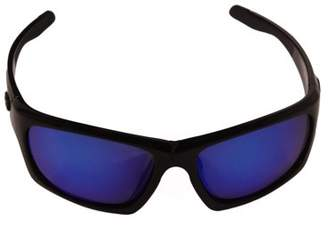 Strike King Lures SK Plus Cypress Sunglasses Shiny Black/Black Rubber Frame, Multi Layer Blue Mirror Gray Base Lens