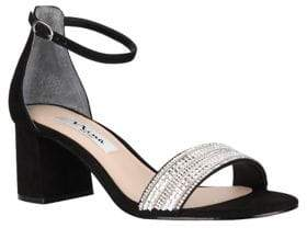 Nina Elenora Crystal and Suede Ankle-Strap Sandals