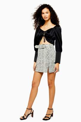 92c3800ea0 Topshop Cream Snake Leather Mini Skirt