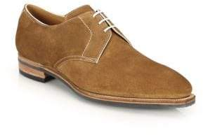 Corthay Sergio Pullman Calf Suede Piped Derby Shoes