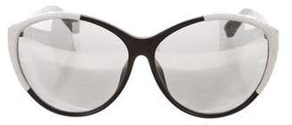 Linda Farrow Embossed Round Sunglasses