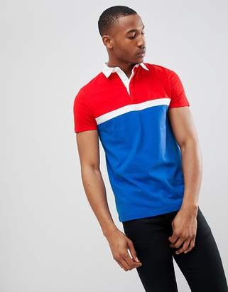 Asos Design Rugby Polo Shirt With Colour Block Panels In Blue