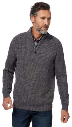 Maine New England MAINE Big And Tall Grey Chunky Knit Zip Neck Sweater