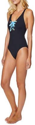 Nautica Wms Swimwear Lace-Up Crisscross One-Piece Swimsuit