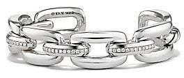David Yurman Wellesley Link Diamonds and Sterling Silver Cuff Bracelet