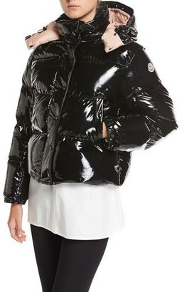 Moncler Gaura Shiny Puffer Quilted Coat, Black $1,735 thestylecure.com