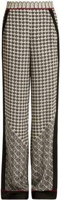 TALITHA Wide-leg scarf-print silk trousers