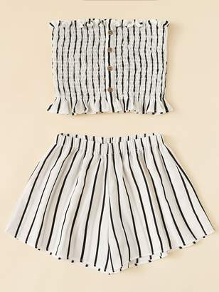 Shein Plus Lettuce Frill Striped Tube Top With Shorts