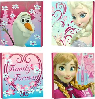 """Disney Disney's Frozen 4-pk. Anna, Elsa & Olaf """"Family Forever"""" Wall Art"""