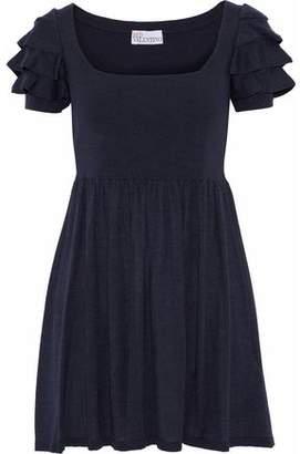 RED Valentino Ruffled Wool-Blend Mini Dress