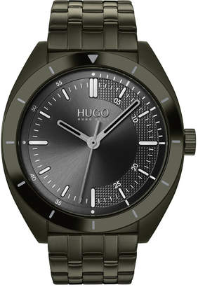 HUGO Men #Style Olive Stainless Steel Bracelet Watch 42mm