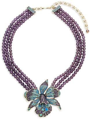 Heidi Daus Women's Crystal Orchid Triple Beaded Necklace