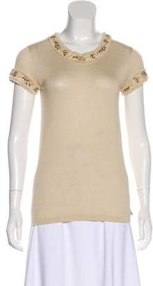 Chanel Silk & Cashmere-Blend Short Sleeve Top