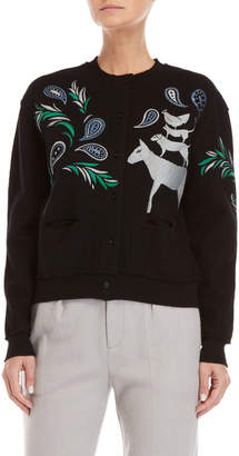 Le Mont St Michel Embroidered Wool Cardigan