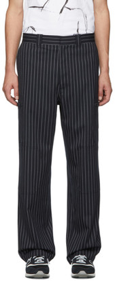 J.W.Anderson Navy Pinstripe Stretch Wool Trousers