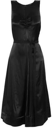 Joseph Belted Ruched Satin-Crepe Dress