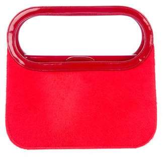 Renaud Pellegrino Patent Leather-Trimmed Ponyhair Bag