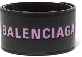 Balenciaga Cycle Printed Textured-leather Bracelet - Black