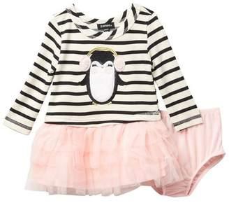 Zunie Long Sleeve Yarn Dye Stripe Faux Fur Applique Dress (Baby Girls)