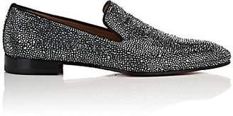 Christian Louboutin Men's Dandelion Strass Suede Venetian Loafers - Gray