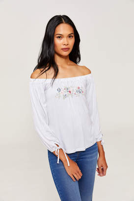 Ardene Pinstripe Off Shoulder Top