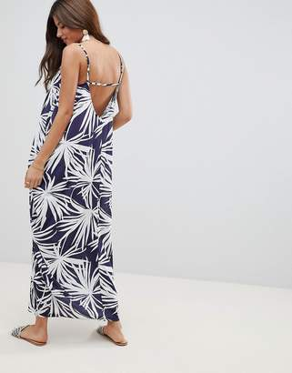 Asos DESIGN tab back drape hareem maxi dress in navy palm print