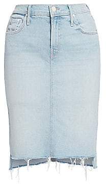 Mother Women's The Peg Frayed Step Hem Jean Skirt