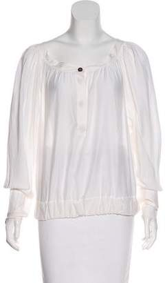 Outlet Fashion Style Purchase For Sale Saint Laurent Pleated Long Sleeve Blouse dQniE