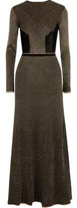 Vionnet Metallic Crochet-Knit Wool Maxi Dress