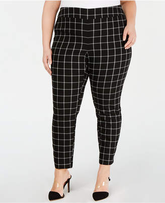 803c7269fd1 INC International Concepts I.N.C. Plus Size Windowpane-Print Skinny Pants